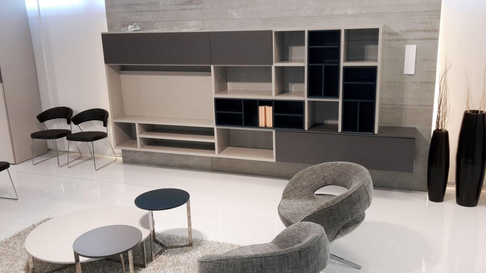Pareti Soggiorno Grigio E Bianco : Parete soggiorno laccato piombo grigio e petrolio casa ingross
