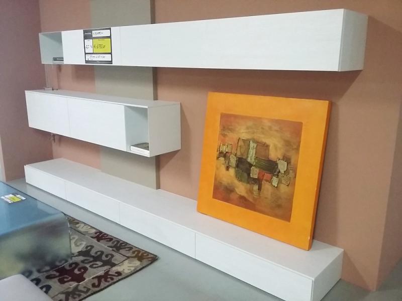 Parete soggiorno SL2 materico legno bianco