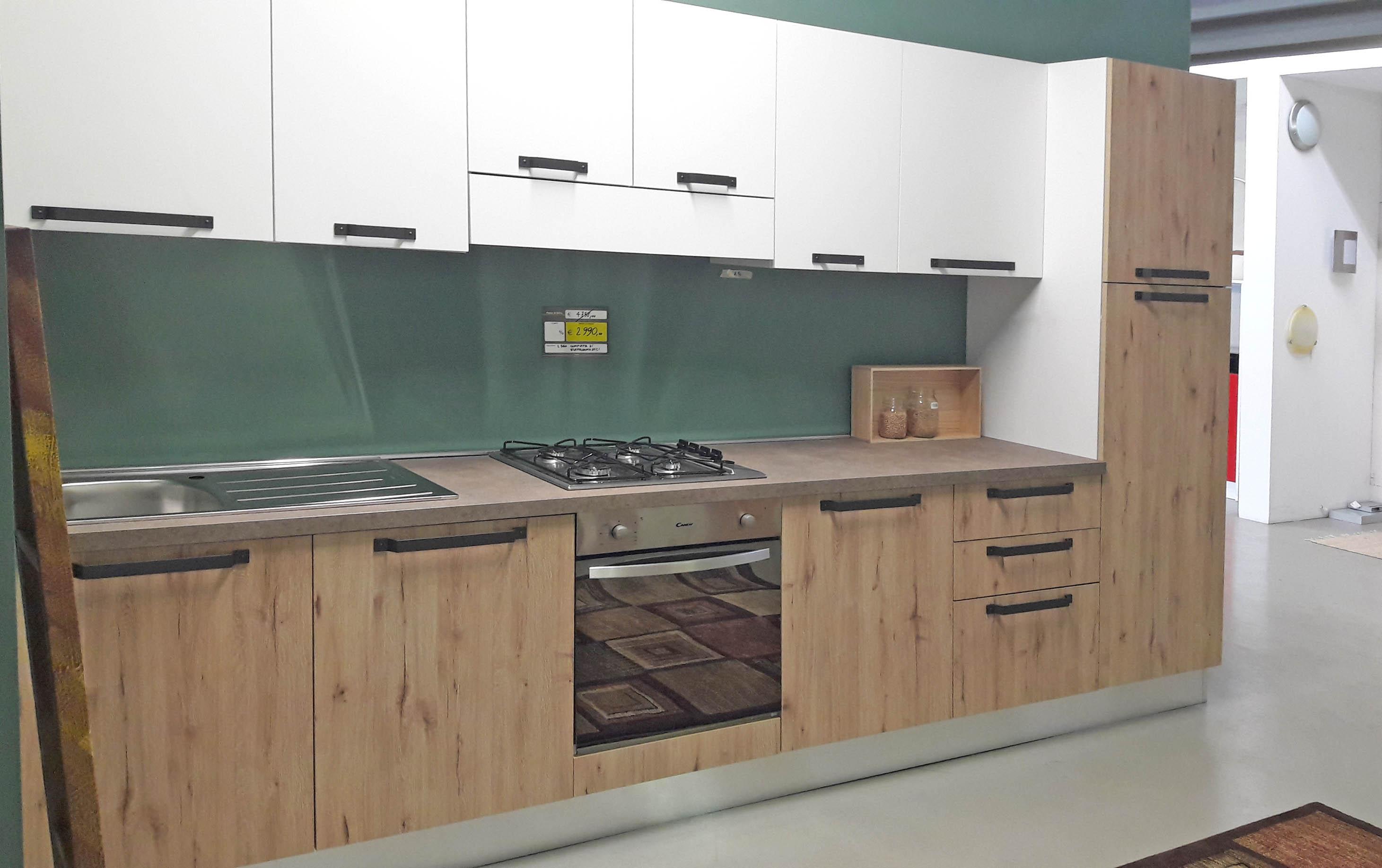 Cucina Aran bianca e legno L.360