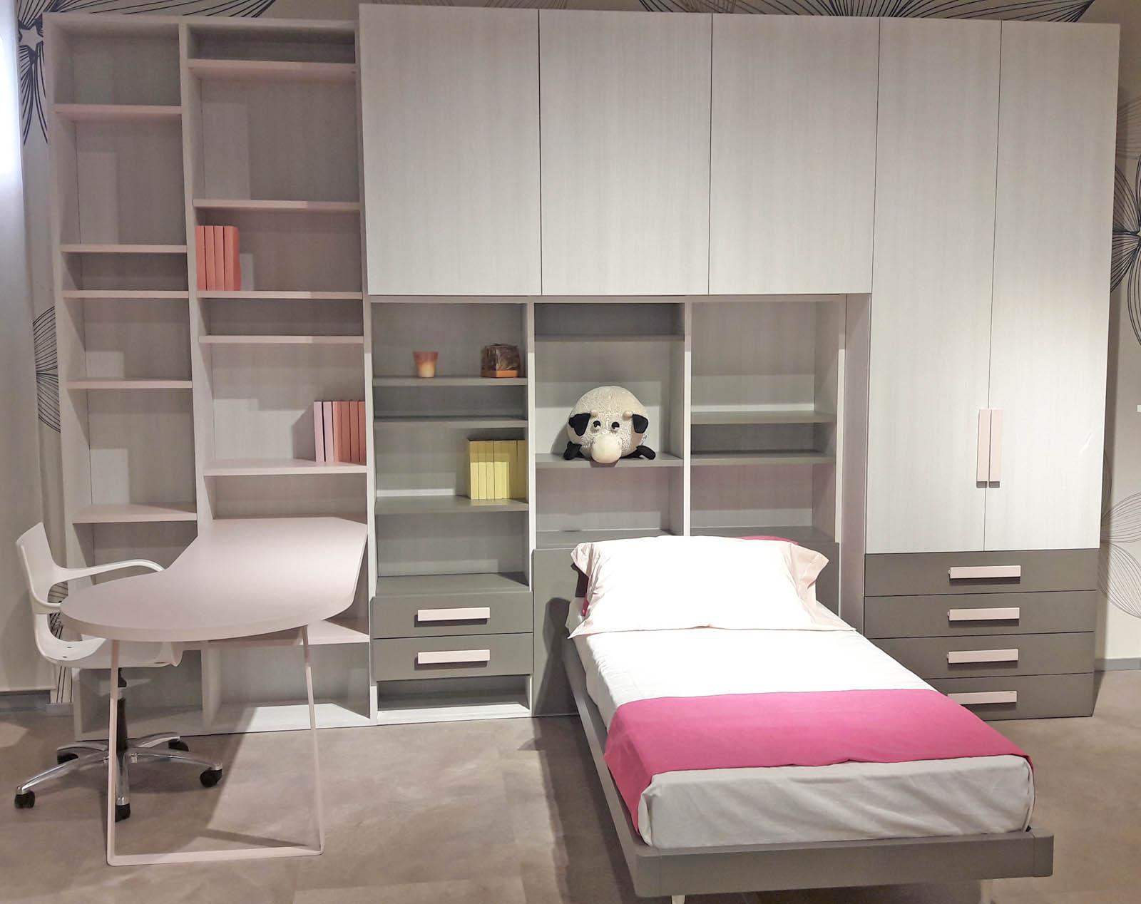 Camera singola ponte olmo bianco e rosa con scrivania for Visma arredo letti