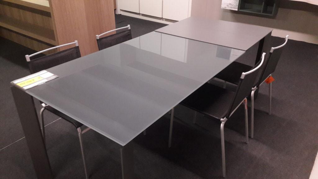 tavolo allungabile saturno vetro grafite 130 visma