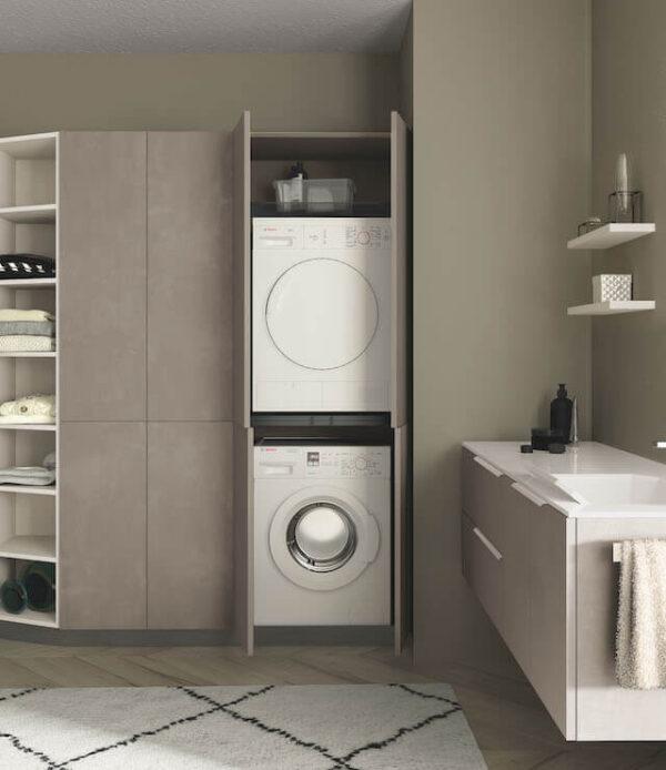 Lavanderia con mobile lavatrice e asciugatrice
